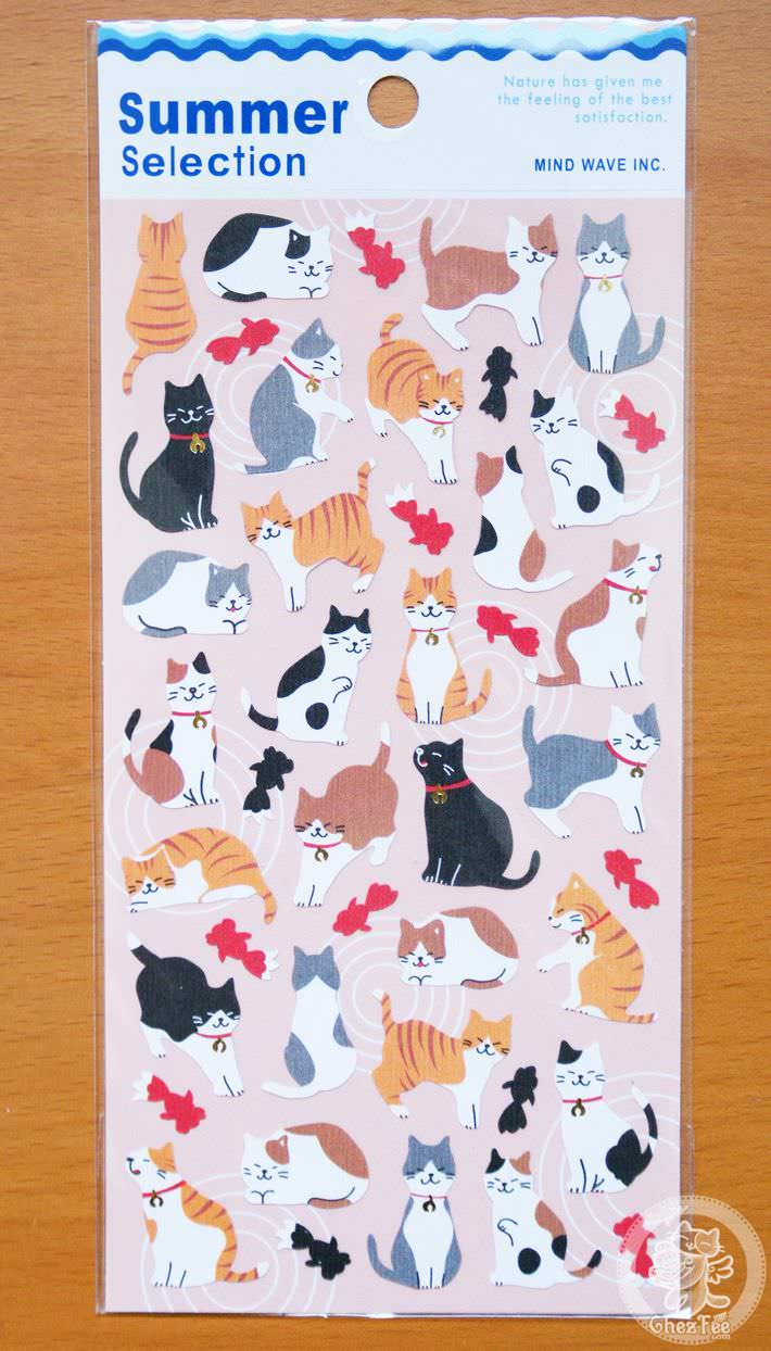 autocollant mignon sticker papeterie boutique kawaii chezfee com japon ete summer selection chat poisson rouge1