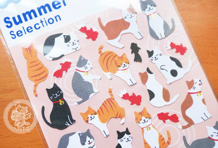 autocollant mignon sticker papeterie boutique kawaii chezfee com japon ete summer selection chat poisson rouge3