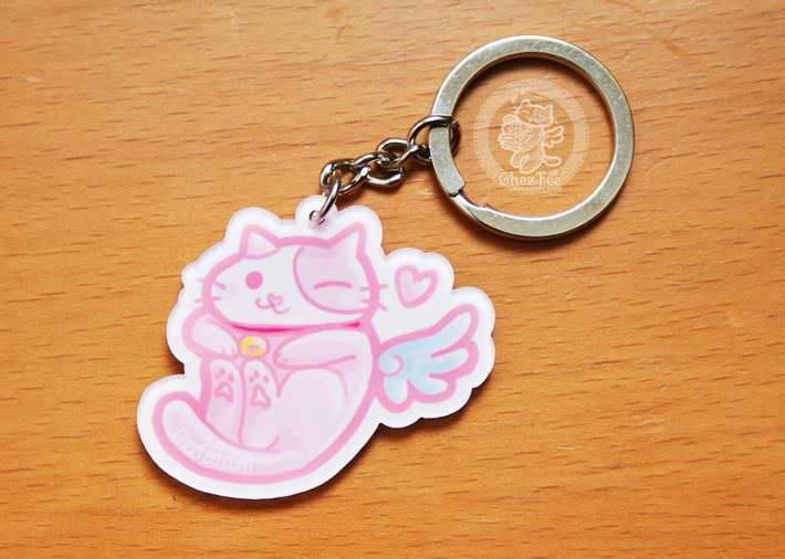 boutique kawaii cute shop mignon chezfee com porte cles chat aille ange no02 1
