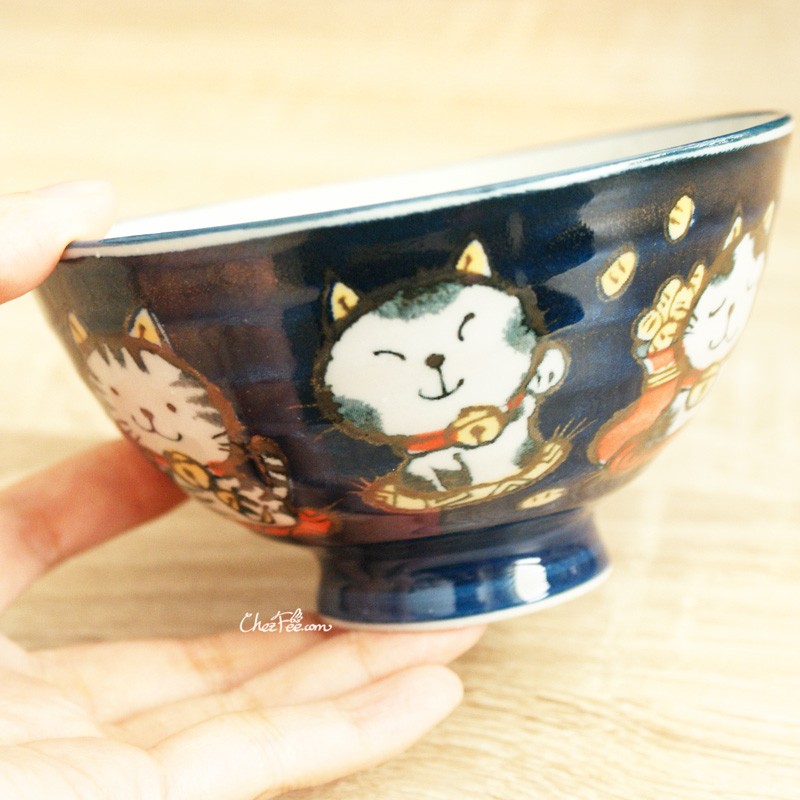 boutique kawaii shop chezfee vaisselle japonaise kawaii traditionnelle manekineko petit bol bleu 4