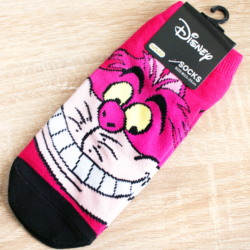 boutique kawaii shop chezfee chaussettes disney japan alice wonderland pays merveilles cheshire chat 1