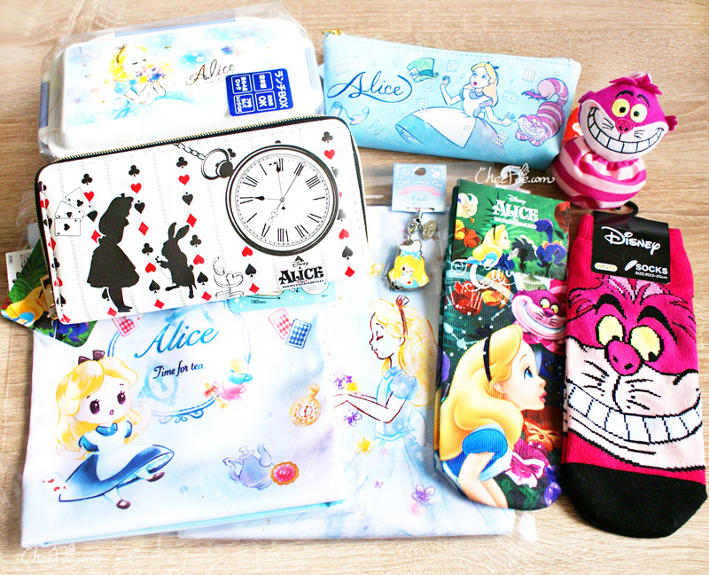 boutique kawaii shop chezfee chaussettes disney japan alice wonderland pays merveilles chat cheshire collection 1s