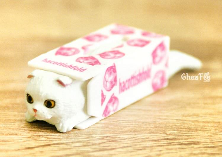boutique kawaii shop chezfee gashapon blindbox neko scottish fold chat boite blanc 1