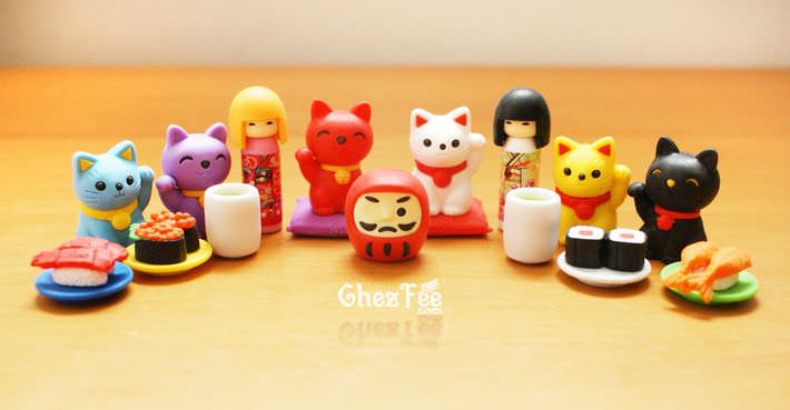 boutique kawaii shop france chezfee com cute papeterie gomme eraser iwako japan japon nouvel an kokeshi manekineko 2
