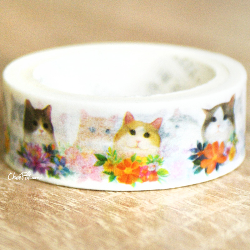 boutique kawaii shop chezfee fourniture papeterie washi masking tape chat fleur 2