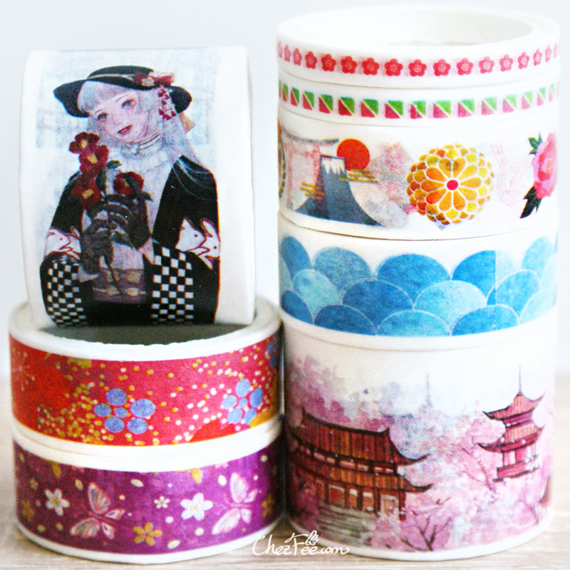 boutique kawaii shop chezfee fourniture papeterie washi masking tape motif japonais kimono 2