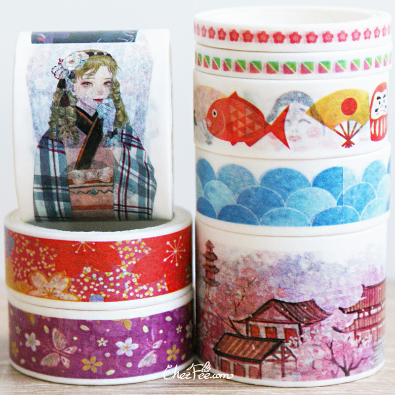 boutique kawaii shop chezfee fourniture papeterie washi masking tape motif japonais kimono 3