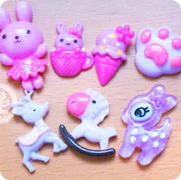 loisir-creatif-diy-lot-accessoir-decoration-cabochon-boutique-kawaii-chezfee-com-lapin-biche-foret-violet-mauve