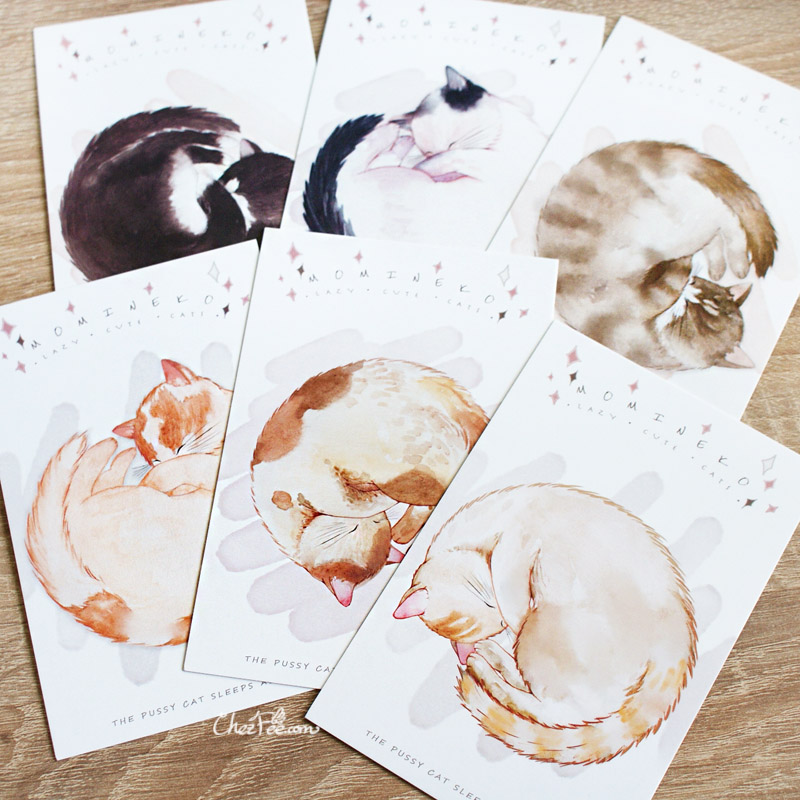 boutique kawaii shop chezfee carte postale postcard chat endormi 4