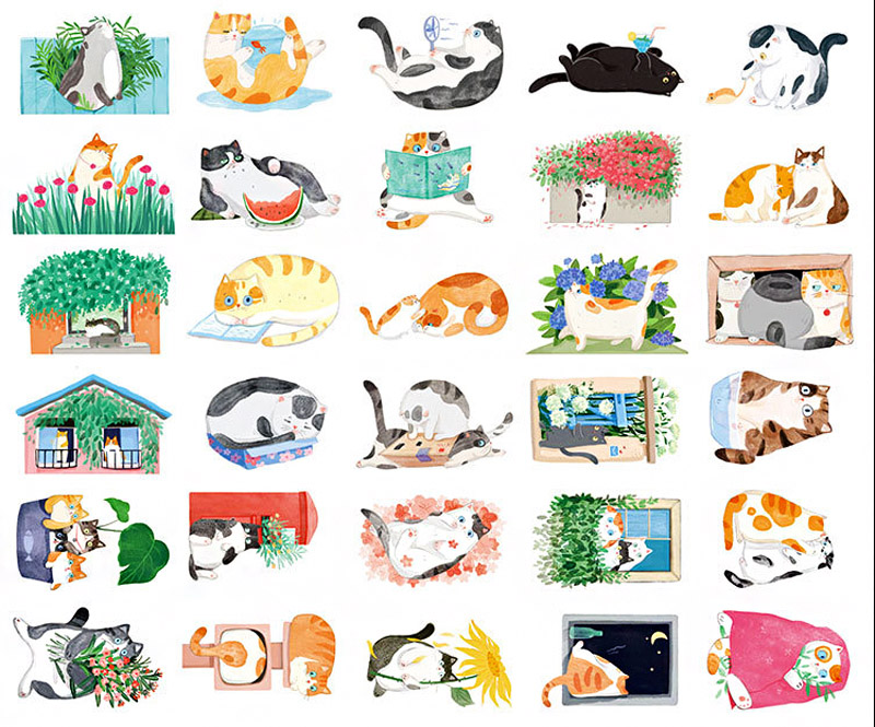 boutique kawaii shop chezfee carte postale postcard chat jardin 2