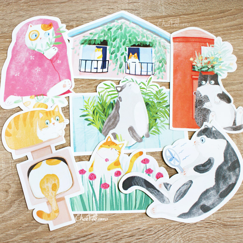 boutique kawaii shop chezfee carte postale postcard chat jardin 4