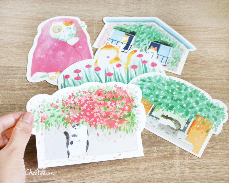 boutique kawaii shop chezfee carte postale postcard chat jardin 5