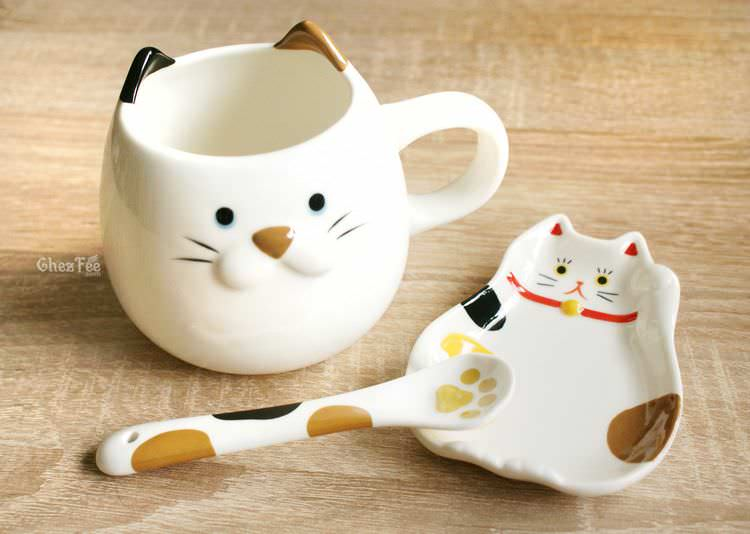 boutique kawaii shop chezfee decoration cuisine japonaise chat maneki neko assiette tasse cuillere 1