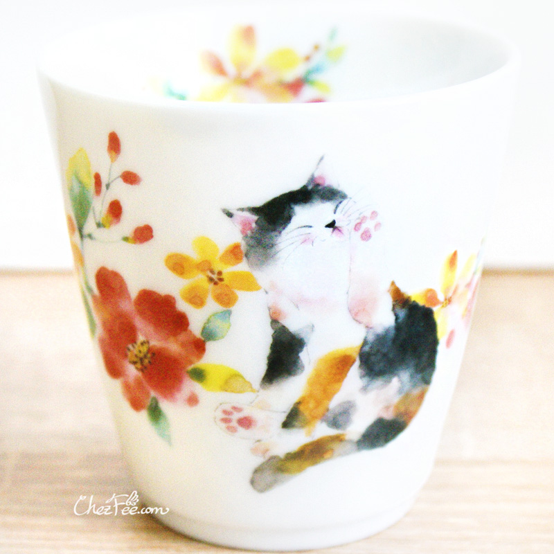 boutique kawaii shop chezfee mug japonais made in japan chat fleur 1