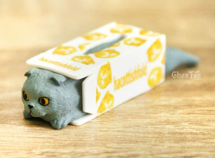 boutique kawaii shop chezfee gashapon blindbox neko scottish fold chat boite gris 1