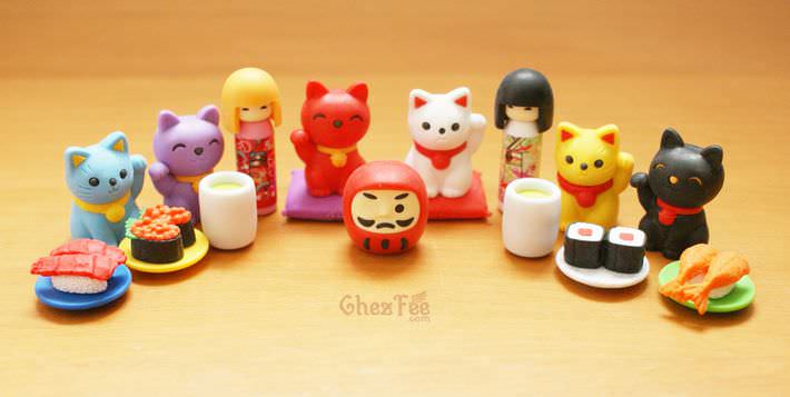 boutique kawaii shop france chezfee com cute papeterie gomme eraser iwako japan japon nouvel an kokeshi manekineko 1