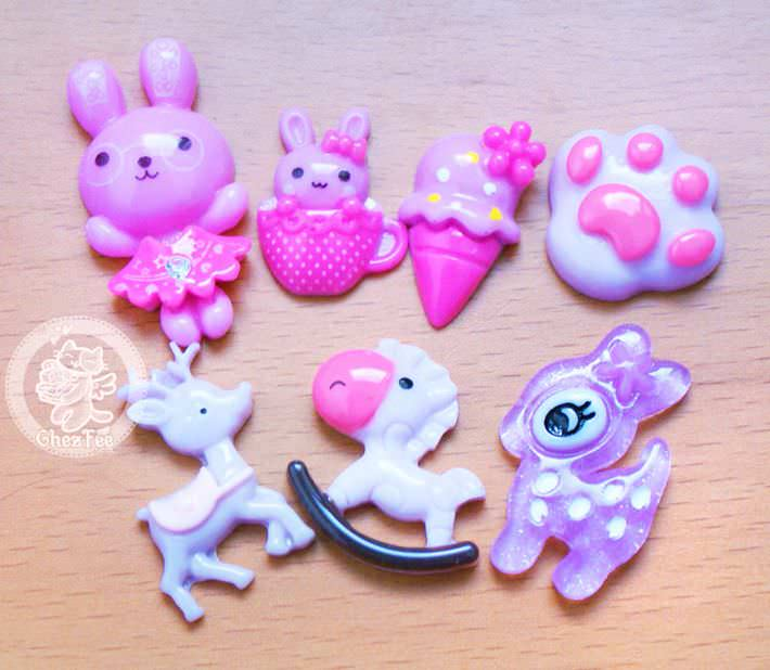 loisir-creatif-diy-lot-accessoir-decoration-cabochon-boutique-kawaii-chezfee-com-lapin-biche-foret-violet-mauve1