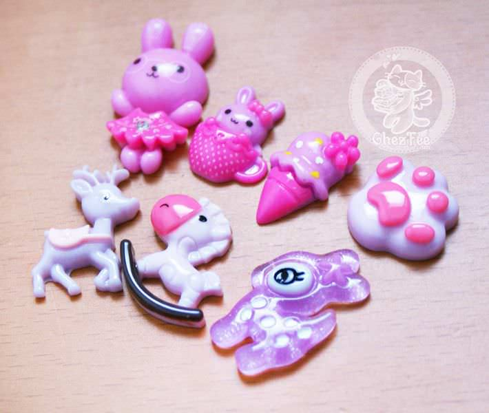 loisir-creatif-diy-lot-accessoir-decoration-cabochon-boutique-kawaii-chezfee-com-lapin-biche-foret-violet-mauve2