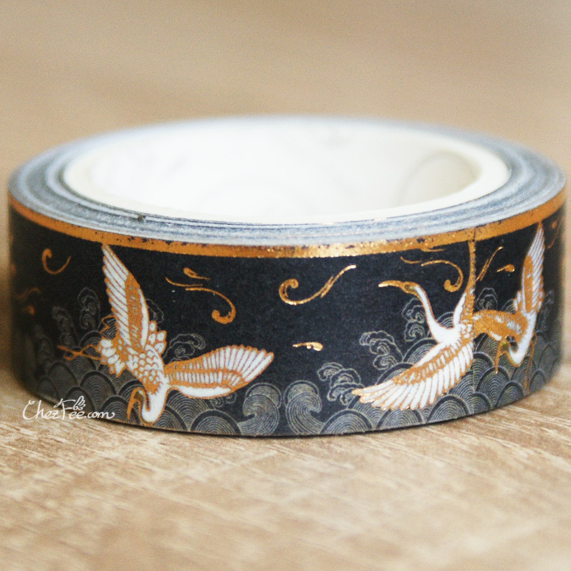 boutique kawaii shop chezfee fourniture papeterie washi masking tape dore grue crane noir 2