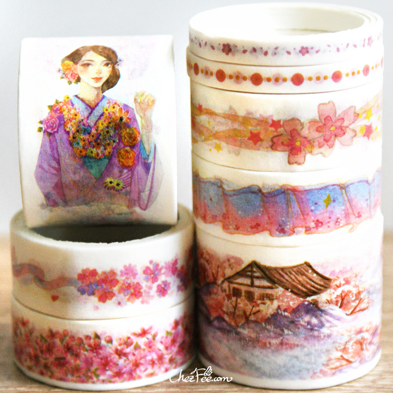 boutique kawaii shop chezfee fourniture papeterie washi masking tape motif japonais kimono sakura 2