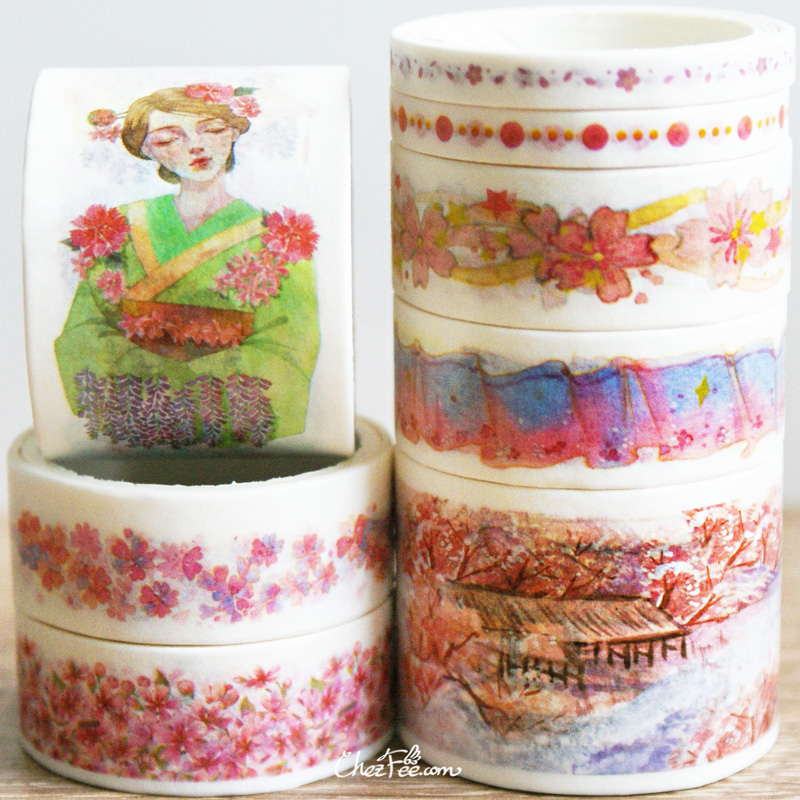boutique kawaii shop chezfee fourniture papeterie washi masking tape motif japonais kimono sakura 3