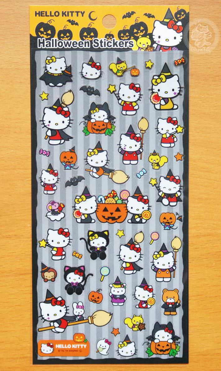 boutique kawaii france chezfee autocollant sticker sanrio authentique hellokitty halloween chat noir1