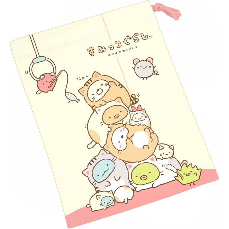 boutique kawaii shop chezfee japan pochon sac vrac coton sanx sumikko gurashi chat 1