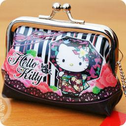 3ed110961 Adorable mini porte-monnaies strap KAWAII - Hello Kitty en Kimono - Sanrio  - Noir