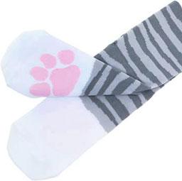 style top vente professionnelle mieux aimé Mi-chaussettes kawaii amusantes - Pattes de chat tigré gris (35-39)