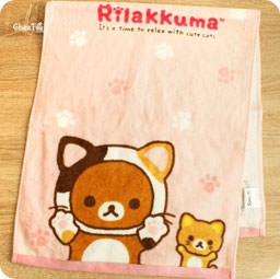 boutique-kawaii-shop-chezfee-serviette-coton-sanx-rilakkuma-chat-nonbirineko