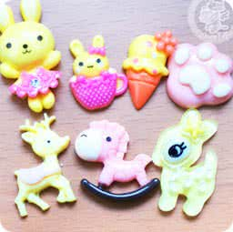 loisir-creatif-diy-lot-accessoir-decoration-cabochon-boutique-kawaii-chezfee-com-lapin-biche-foret-jaune