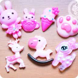 loisir-creatif-diy-lot-accessoir-decoration-cabochon-boutique-kawaii-chezfee-com-lapin-biche-foret-rose-sakura